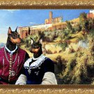 Miniature Pinscher Fine Art Canvas Print - The Noble couple and buildings