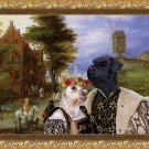 Miniature Schnauzer Fine Art Canvas Print - Entrance to the village