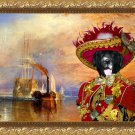 Newfoundland Fine Art Canvas Print - Red pirate and his ship