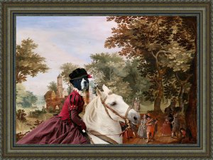 Pyrenean Mastiff Fine Art Canvas Print - A castle