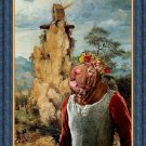 Shar Pei Fine Art Canvas Print - Young lady near to strange windmill