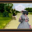 Standard Schnauzer Fine Art Canvas Print - Lady with a parasol in the park