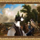 English Pointer Fine Art Canvas Print - Lanndscape with Elegant Figures, Horses ,Dogs and  Falconers