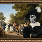 English Setter Fine Art Canvas Print - Politicians talks in the Tuileries Gardens