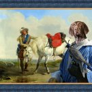 German Short Haired Pointer Fine Art Canvas Print - A Cavalier watering his Mount