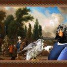 Gordon Setter Fine Art Canvas Print - Landscape with Elegant Figures, Horses and  Falconer lady