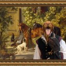 Hungarian Shorthaired Vizsla Fine Art Canvas Print - Horses at the Porch