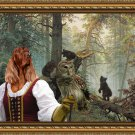 Irish Red Setter Fine Art Canvas Print - The young bears play in the old tree