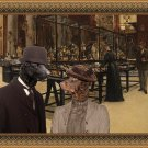 Curly Coated Retriever Fine Art Canvas Print - Visiting the Museum