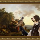 Drentse Patrijshond Fine Art Canvas Print - Travellers with hounds and heavily laden mules at a well