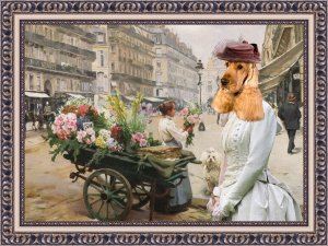 English Cocker Spaniel Fine Art Canvas Print - A Purchase Of flowers