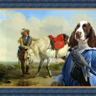 English Springer Spaniel Fine Art Canvas Print - A Cavalier watering his Mount