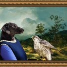 Flat Coated Retriever Fine Art Canvas Print - Lady falconer