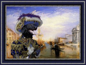 Flat Coated Retriever Fine Art Canvas Print - The Grand Canal, Venice