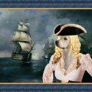 Golden Retriever Fine Art Canvas Print - Pirate Lady with a ship