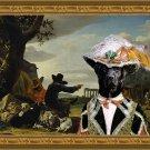 Labrador Retriever Fine Art Canvas Print - Landscape with shepherds, goats, and noble person