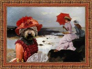 Perro de Agua Español Fine Art Canvas Print - Windy day at the Beach