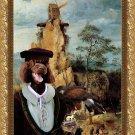 Portuguese Water Dog Fine Art Canvas Print - Falconer near strange Windmill