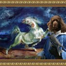 Sussex Spaniel Fine Art Canvas Print - The white Stallion and Falconer