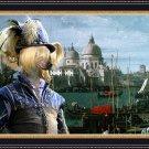 Chinese Crested Dog Fine Art Canvas Print - Blue Duke in Venice
