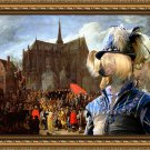 Chinese Crested Dog Fine Art Canvas Print - Arrival at the church celebration