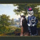 Chinese Crested Dog Fine Art Canvas Print - Powder Puff Landscape with noble lady horse rider