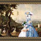 Havanese Fine Art Canvas Print - Blue Lady walking in the Palace's park