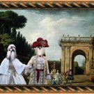 Shih Tzu Fine Art Canvas Print - View of the Villa Ludovisi Park in Rome with Royal couple
