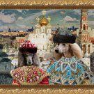 Standard Poodle Fine Art Canvas Print - King and Queen in Landscape with Gold Church