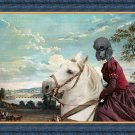 Standard Poodle Fine Art Canvas Print - The landscape with noble horseride Lady
