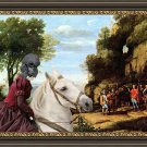 Standard Poodle Fine Art Canvas Print - The passage with noble horseride Lady