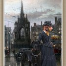 Dachshund Miniature Wirehaired Fine Art Canvas Print - Lady with a big dog
