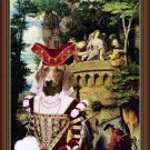 Dachshund Standard Smoothaired Fine Art Canvas Print - The concerned lady pending his beloved lord