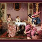 Dachshund Standard Smoothaired Fine Art Canvas Print - The tea time