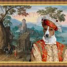 Basenji Fine Art Canvas Print - Wide mountainous landscape with a castle and a horseman