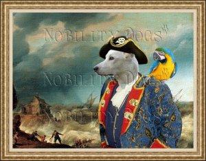 Canaan Dog Fine Art Canvas Print - Pirate shipwreck