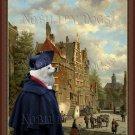 German Spitz Fine Art Canvas Print - Walk the old town