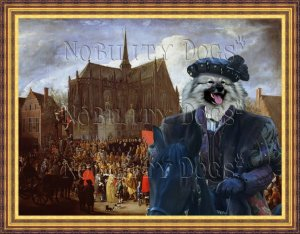 Keeshond Fine Art Canvas Print - Arrival at the church celebration