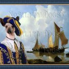 Mexican Hairless Dog Fine Art Canvas Print - Shipping Vessels in an Estuary