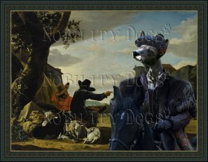 Peruvian Hairless Dog Fine Art Canvas Print - The black Duke and Shepherds