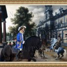 Portuguese Warren Hound Fine Art Canvas Print - Horseriders in a Palace Garden