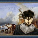 Siberian Husky Fine Art Canvas Print - Fishermen on ice Sun