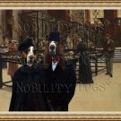 Basset Hound Fine Art Canvas Print - Visiting the Museum