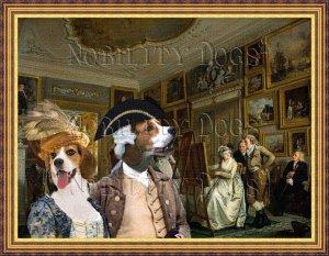 Beagle Fine Art Canvas Print - The lesson painting