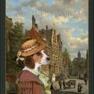 Beagle Fine Art Canvas Print - Dutch town scene with figures