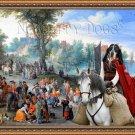 Blue Gascony Basset Fine Art Canvas Print - Village fair