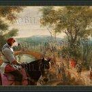Deutsche Bracke Fine Art Canvas Print - Wooded river landscape with soldiers
