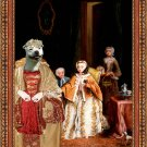 Staffordshire Bull Terrier Fine Art Canvas Print - The afternoon drinking tea