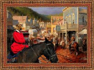 Welsh Terrier Fine Art Canvas Print - Gold Town