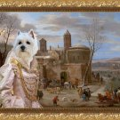 West Highland White Terrier Fine Art Canvas Print - A winter landscape with figures